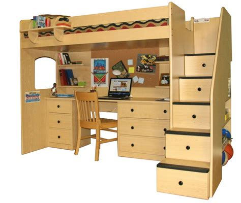 Bunk Bed With Closet Underneath Loft Beds With Desk Underneath And Staircase With Drawers And Bookshelves Wooden Chair Bed