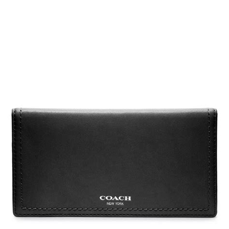 black leather covers lyst coach legacy leather checkbook cover in black