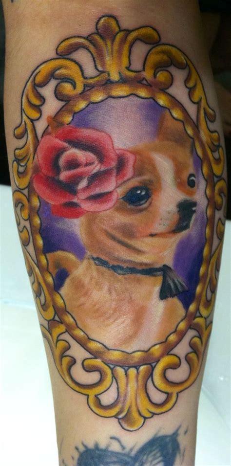 atomic tattoo austin tx chihuahua in gold frame i swear she s smiling atomic