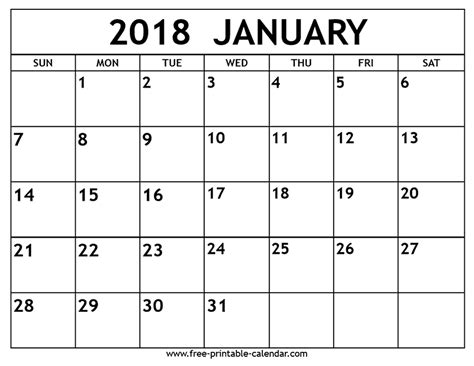 printable monthly calendar for january 2018 january 2018 calendar monthly 2018 calendar printable