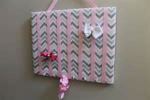 hair bow holder large pink grey chevron by lisaannscreations