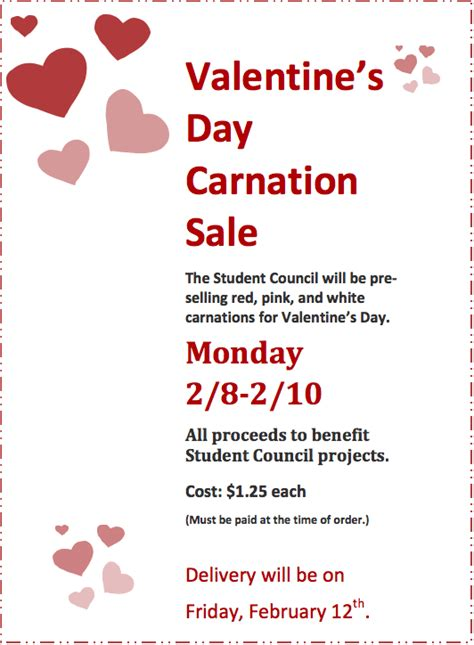 valentines day flower sale s day carnation sale st bernard s elementary