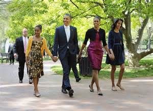 obama first family obama family walk to historic church to attend easter