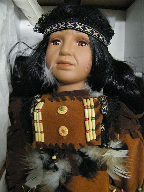 Handcrafted Dolls - boy doll american indian handcrafted porcelain