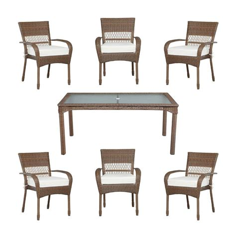 Martha Stewart Patio Dining Set Martha Stewart Living Charlottetown Brown All Weather Wicker 7 Patio Dining Set With Bare