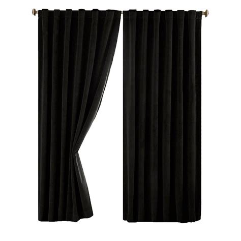 curtains black absolute zero total blackout black faux velvet curtain