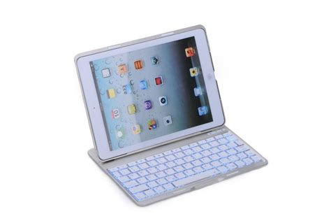 5 Leather Keyboard Bluetooth Ipad5 Air Berkualitas ultra slim pu leather back wireless bluetooth keyboard with 7 color backlights for 5