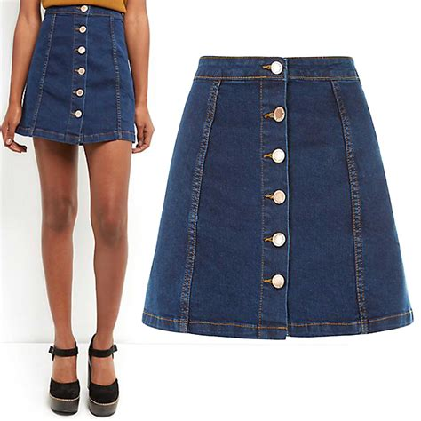 new womens blue denim a line mini skirt button front