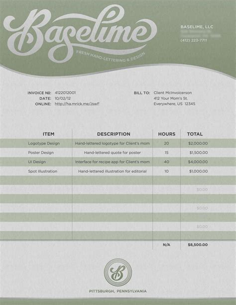 graphic design receipt template