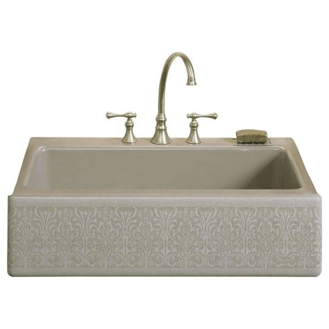 kohler farmhouse sink 33 kohler dickinson farmhouse apron front cast iron 33 in 4
