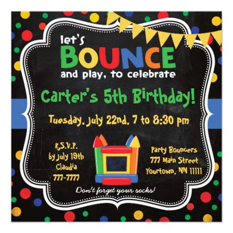 Bounce Back Card Template by Bounce House And Inflatables Birthday Invitation 5 25
