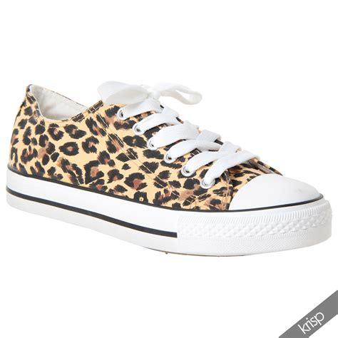 womens leopard sneakers womens floral plain leopard low top fashion trainers flat