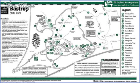 map texas state parks bastrop state park map texas toursmaps