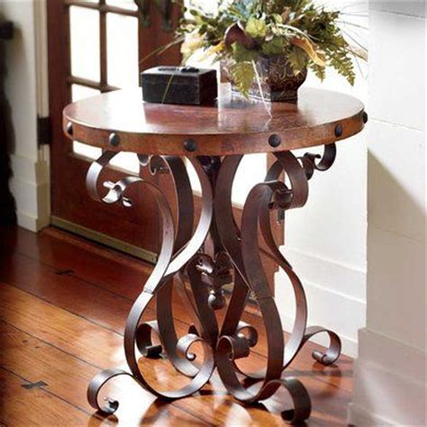 king ranch home decor iron base occasional table with copper top king ranch