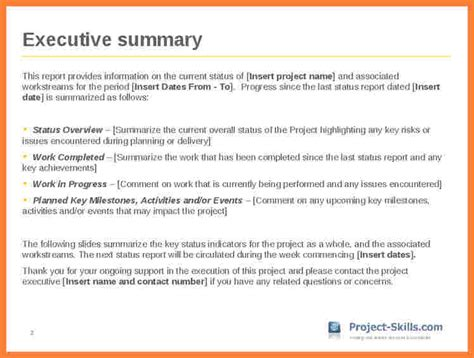 project management executive summary template edit fill out