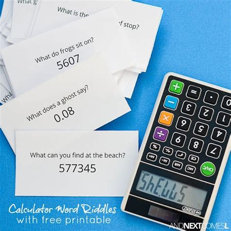 calculator game level 38 free printable calculator word riddles for kids math