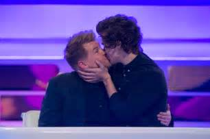 Harry styles and james corden kiss on sky tv show a league of their