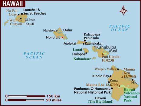 map of hawaiian islands and usa map of hawaii