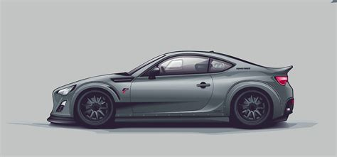 stanced cars drawing ft gt86 vector