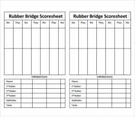 bridge score card template sle bridge score sheet 7 documents in pdf