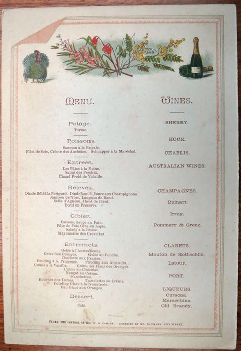 new year banquet menu sydney 26 january 1888 the cook and the curator sydney living