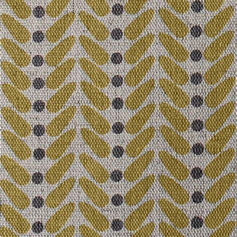 Curtains Modern Print Hulda Mustard Yellow Patterned Linen Mix Oeko Tex Fabric