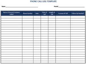 phone log template 5 plus call log templates to keep track your calls