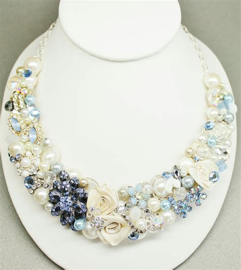 light blue statement necklace reserved for nikki light blue bridal bib necklace pearl