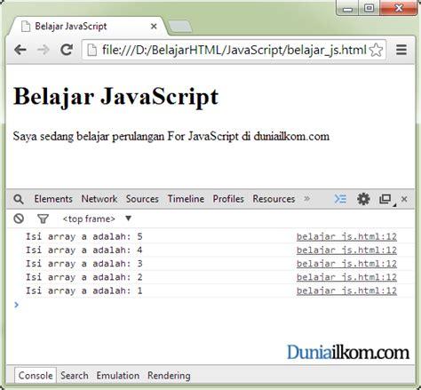 tutorial javascript wordpress contoh cara penggunaan perulangan for in javascript 1