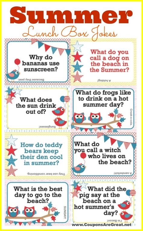 printable jokes for adults printable summer lunch box notes using summer jokes for