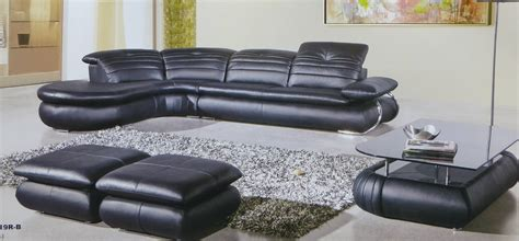 5 piece leather sectional fashion genuine black leather modern 5 piece sectional set