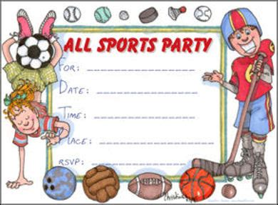 Printable Party Invitations Children S All Sports Party Free Printable Sports Birthday Invitation Templates