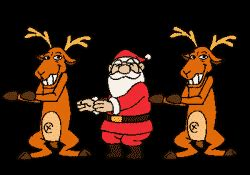 Santa claus and his reindeer animation moving merry christmas pictures