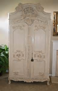 antique shabby chic armoire carved from