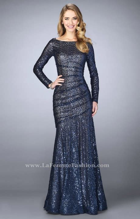 la femme  long sleeve sequin dress prom dress