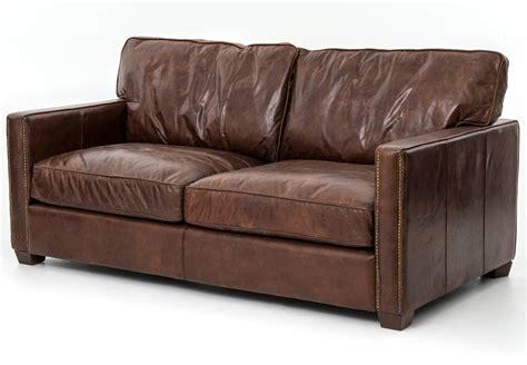 four hands leather sofa four hands 72 quot cigar brown leather larkin sofa ccar 24