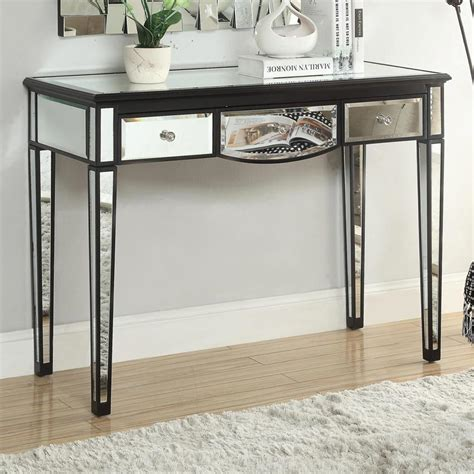 black mirrored console table black accent console table with mirror accents