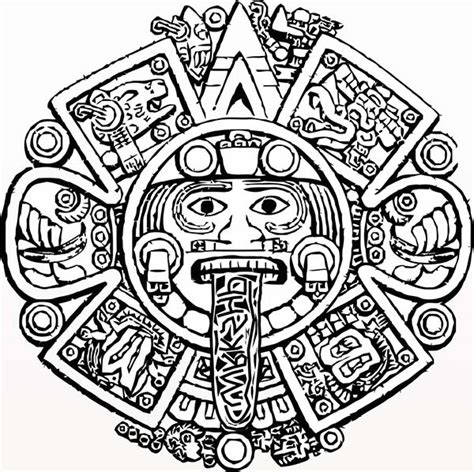 aztec pattern drawings color aztec calendar stone coloring pages pinteres