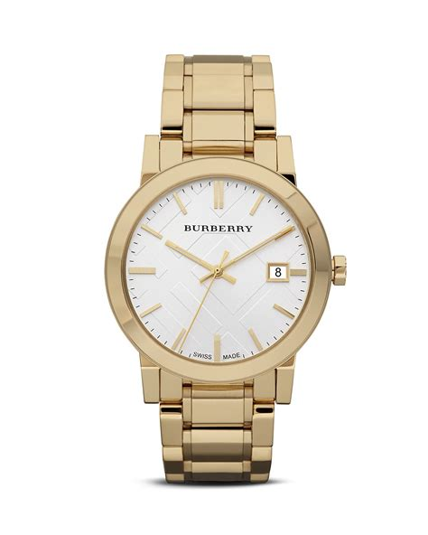 burberry gold bracelet with check etching 38mm