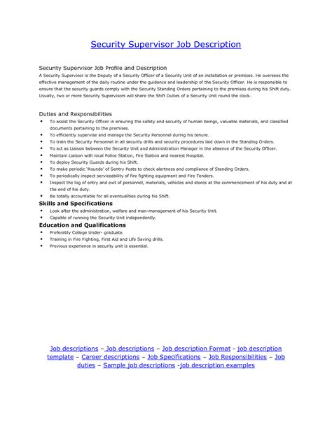 description for security supervisor security guards companies