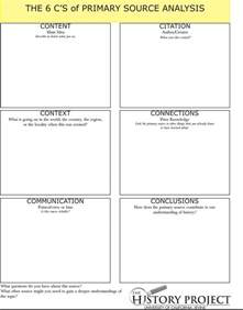 Primary Source Essay Exle by Excellent Sheet Featuring The 6 Cs Of Primary Source Analysis Educational Technology And