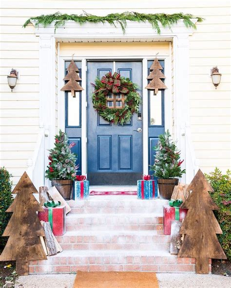 Diy Wreaths by Christmas Decorations Front Doors Door Paint Colors And