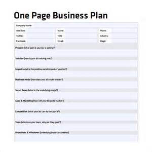 One Page Business Plan Template One Page Business Plan Sample 8 Documents In Pdf