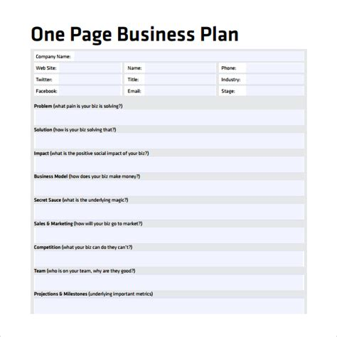 business one sheet template one page business plan template