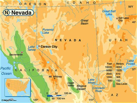 physical map of nevada nevada physical map by maps from maps world s