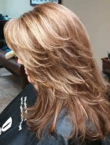foil coloring hair styles red brown base color with heavy foils of caramel blonde