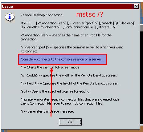 mstsc admin console mstsc v admin command in remmina or similar rdp client