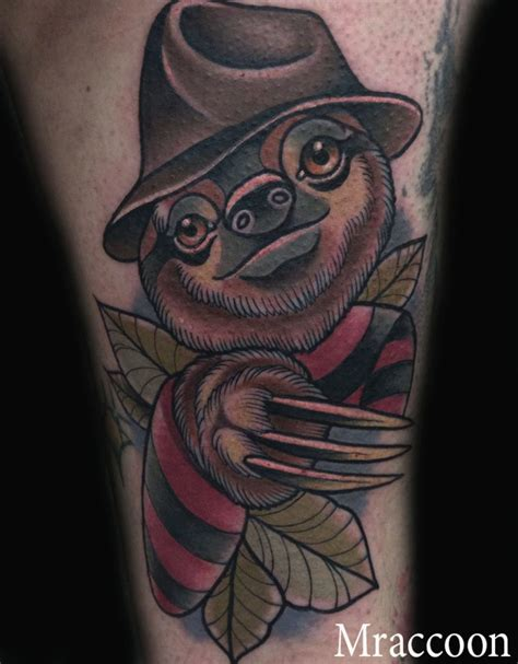 sloth freddy krueger neotraditional tattoo