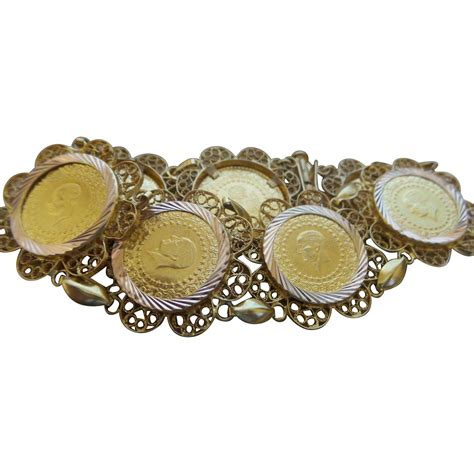 gold filigree vintage 14k yellow gold filigree coin bracelet from