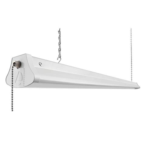 Led Shop Light Fixture by Lithonia Lighting 25 Watt White Led Chain Mount Shoplight 1290l The Home Depot